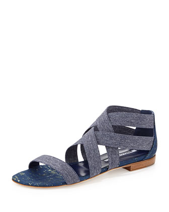 Leoni Denim-Stretch Flat Sandal, Blue