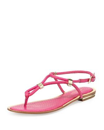 Hartley Snakeskin Thong Sandal, Geranium