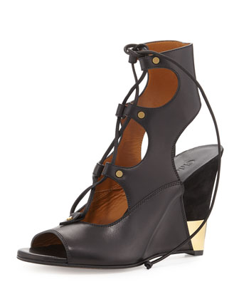 Leather Gladiator Wedge Sandal, Black