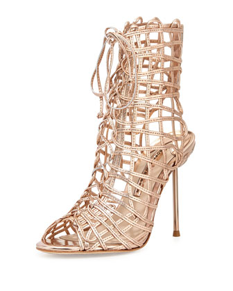 Delphine Metallic Gladiator Sandal, Rose Gold
