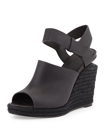 Tori Leather Espadrille Wedge, Black