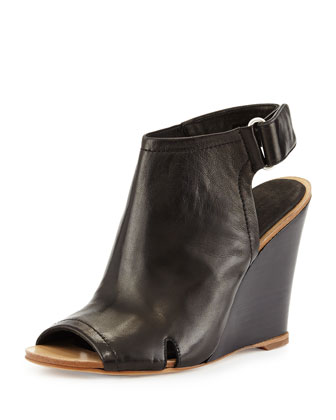 Wembley Peep-Toe Wedge Bootie, Black