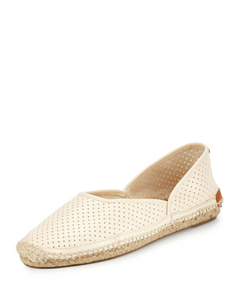 Georgie Perforated Leather Espadrille, Off-White