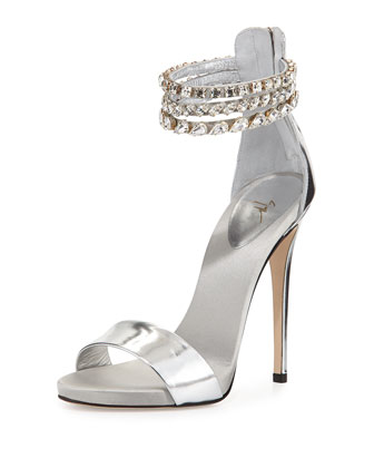 Metallic Leather Crystal-Embellished Sandal, Silver