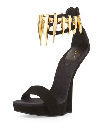 Suede Studded Ankle Strap Wedge, Black