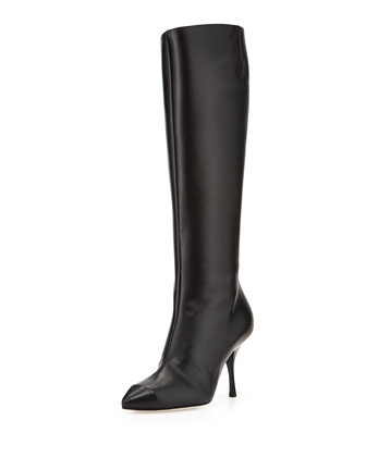Leather Cap-Toe Knee Boot, Black