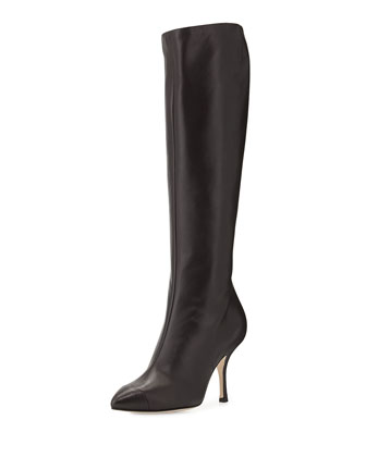 Leather Cap-Toe Knee Boot, Brown