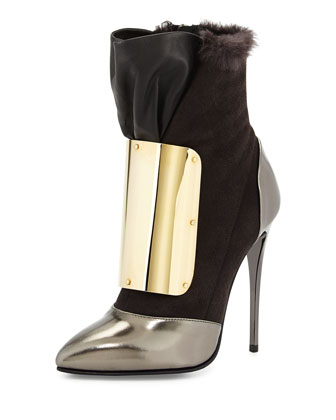 Metallic Mixed-Media Bootie, Gray