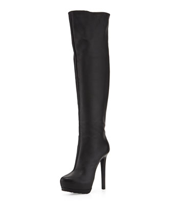 Over-the-Knee Platform Boot, Black