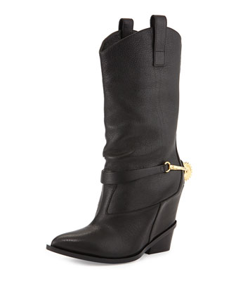 High-Heel Boot w/Cowboy Detail, Black