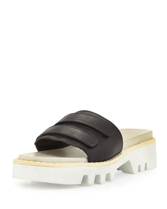 Seldon Leather Sandal Slide, Black