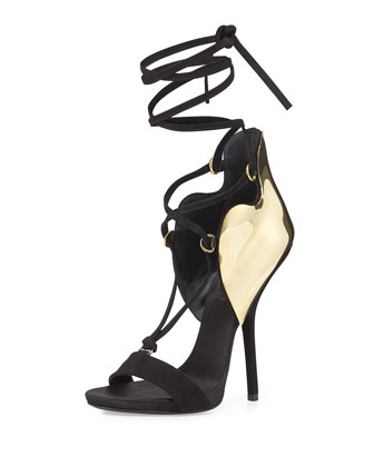 Lace-Up Golden-Plated Sandal, Black