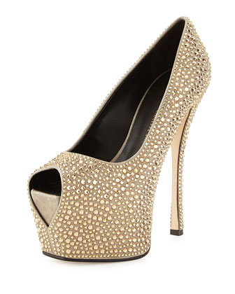 Allover Crystal Peep-Toe Pump, Gray/Golden