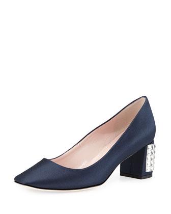 danika embellished-heel pump, navy