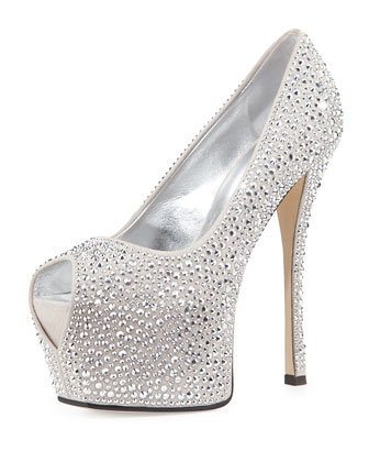 Peep-Toe Crystal Platform Pump, Light Gray