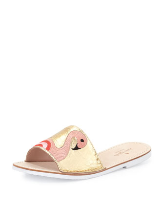 iggy flamingo sandal slide, gold