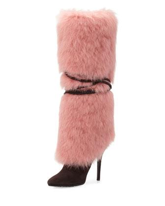 Furry High-Heel Tall Boot, Brown