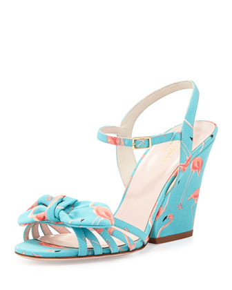 indie flamingo wedge sandal, turquoise