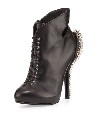 Lace-Up Spiked Heel Bootie, Black