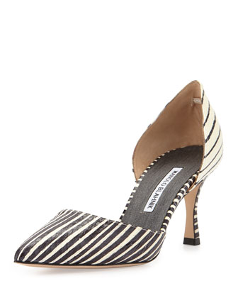 Ganici Striped Snakeskin d'Orsay Pump, Black/White