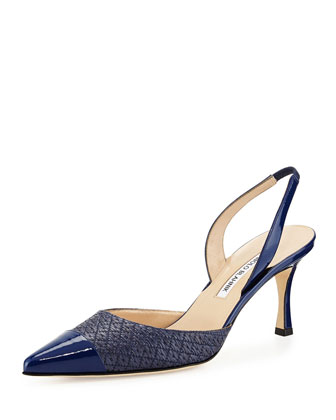 Latto Woven Cap-Toe Halter Pump, Blue