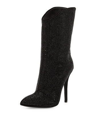 Crystal-Embellished High-Heel Bootie, Black