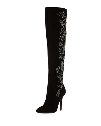 High-Heel Rhinestone Suede Boot, Black