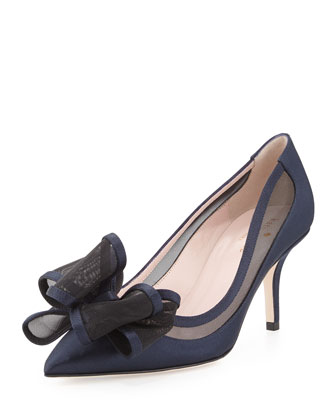 jackie satin & mesh bow pump, navy
