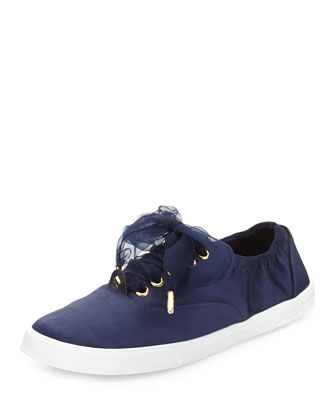 lorana satin tie sneaker, navy