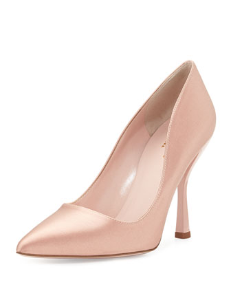 lucy satin point-toe pump, dusty pink