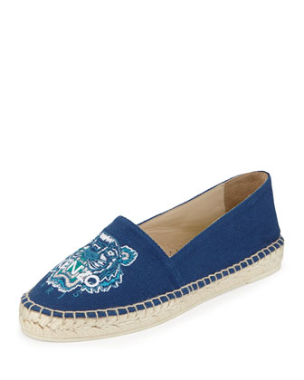 Tiger-Embroidered Canvas Espadrille Flat, Bleu Marine