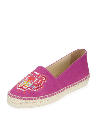 Tiger-Embroidered Canvas Espadrille Flat, Pourpre