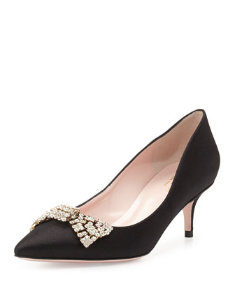 marra crystal bow satin pump, black