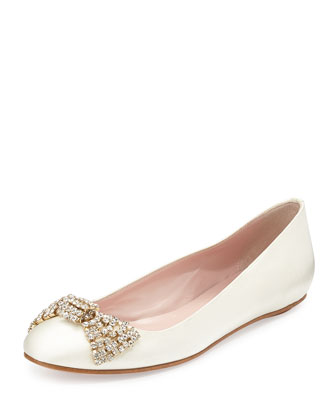 ballie crystal bow satin flat, ivory