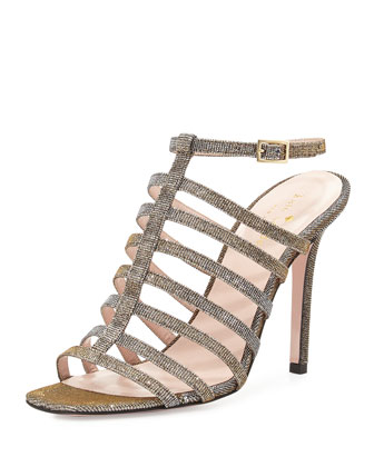 delia too metallic sandal, bronze