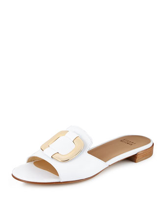 Odeon Ornament Slide Sandal, White