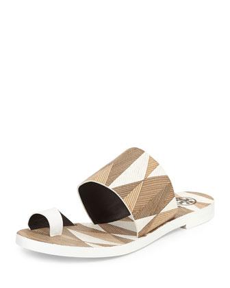 Kempner Flat Slide Sandal, White