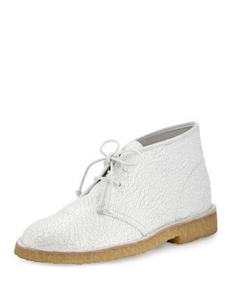 Bergen Crackled Leather Desert Boot, White