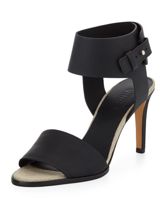 Antonia Mid-Heel Leather Sandal, Black/Natural