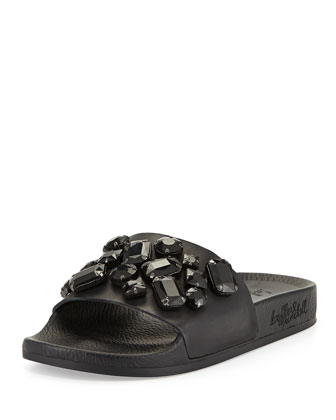 Cat Jewel-Embellished Sandal, Black
