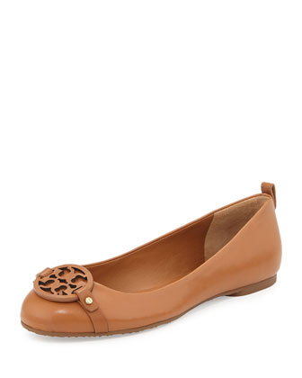 Mini Miller Leather Logo Flat, Tan