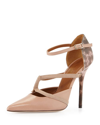 Veronica Snake Ankle-Wrap Pump, Nude/Pink