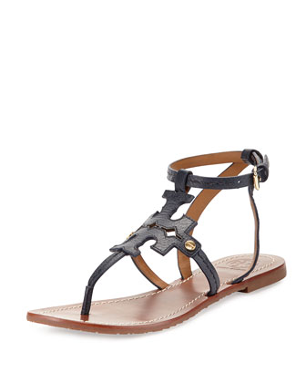Phoebe Leather Flat Sandal, Tory Navy