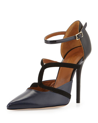 Veronica Napa Ankle-Strap Pump, Midnight/Black