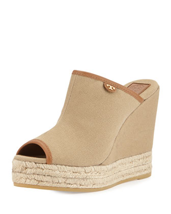 Canvas Slip-On Wedge Mule, Tan/Royal