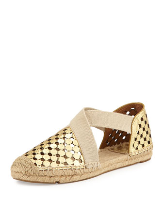 Catalina Perforated Espadrille Flat, Gold/Natural