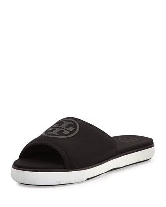 Neoprene Logo Slide Sandal, Black