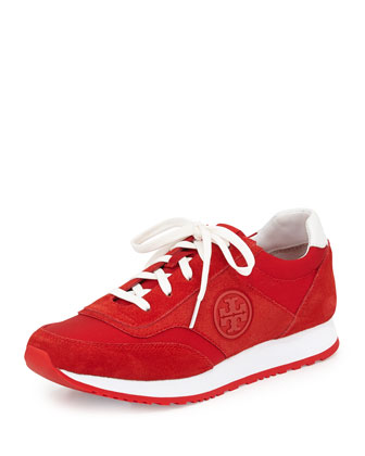 Suede Logo Trainer, Red