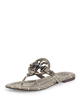 Miller 2 Snake-Embossed Medallion Sandal, Black/Natural