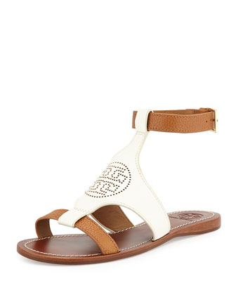 Perforated Logo Leather Sandal, Ivory/Royal Tan